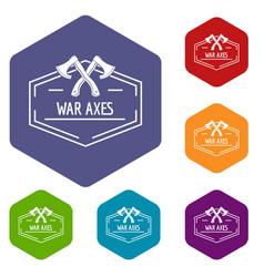 war axe icons hexahedron vector image
