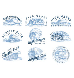Wave labels logos set of atlantic tide templates vector