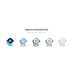 Webcam disconnected icon in different style two vector