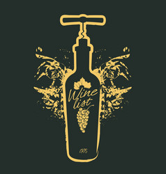 wine bottle and corkscrew on black vector image