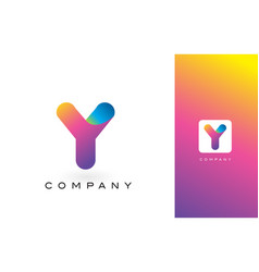 Y logo letter with rainbow vibrant beautiful vector