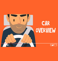 young man blogger giving car overview online vector image