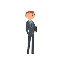 Young man in business suit with briefcase cartoon vector
