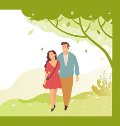 Young people walk in green spring or summer park vector