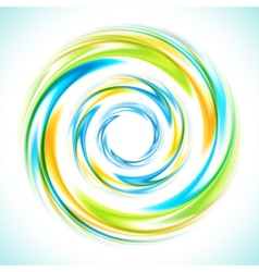 Abstract blue green and yellow swirl circle bright vector