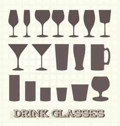 Drinking glasses silhouettes vector