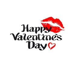 happy Valentines day love heart red pink kiss vector image
