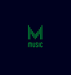 m monogram music logo vector image
