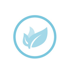 organic leaves blue round icon vector image