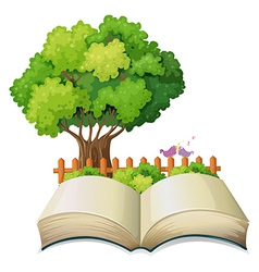 An empty open book and a tree with a fence vector image vector image