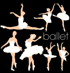 ballet silhouettes set vector image