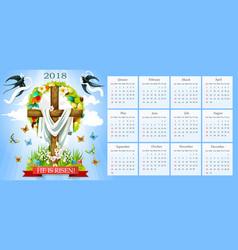 Calendar easter crucifix and paschal eggs vector
