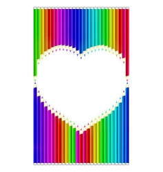 color pencils heart shaped vector image vector image
