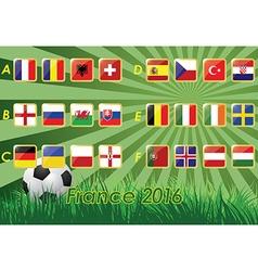 Flags of european football championship 2016 vector