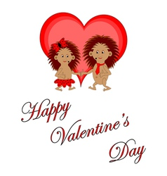 Funny boy and girl with words Happy Valentines Day vector image vector image