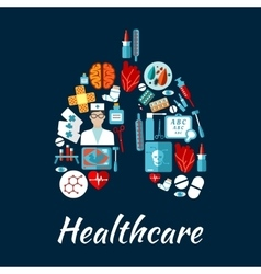 Healthcare icons in a shape of human lungs vector image vector image