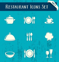 Restaurant icons retro collection vector image vector image