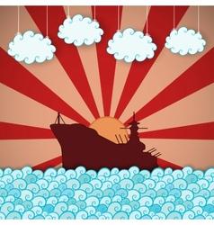 Retro poster of battleship vector image