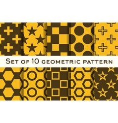 Set of 10 geometric patterns vector image