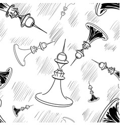 hand drawn chess seamless vector image vector image