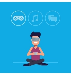 Man with glasses of virtual reality selects the vector image vector image