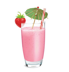strawberry smoothie or milkshake vector image vector image