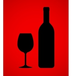 wine bottle and glass on red background vector image
