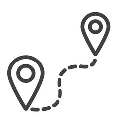 Distance line icon navigation route map pointer vector