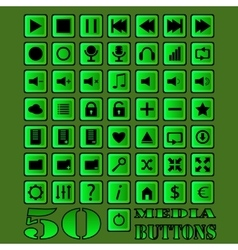 Fifty media buttons vector image