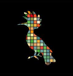 hoopoe bird mosaic color silhouette animal vector image