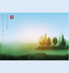 landscape with trees under the sunlight hand drawn vector image vector image