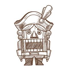 nutcracker retro toy sketch hand drawn vector image vector image