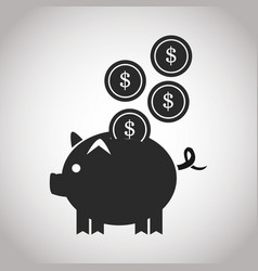 piggy coins money safety banking pictogram image vector image vector image