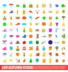 100 autumn icons set cartoon style vector