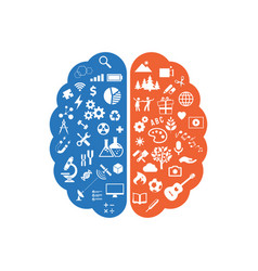 abstract human brain with the icons of art and vector image