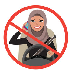 Arab businesswoman driving a car talking on the vector