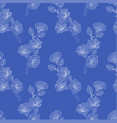 asian seamless pattern line flowers and buds on vector image