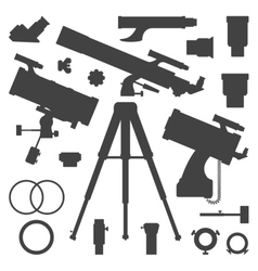 Astronomy telescope silhouette collection vector