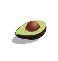 avocado cut into halves symbol isolated on vector image