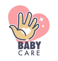 Baby care service isolated icon with heart and vector