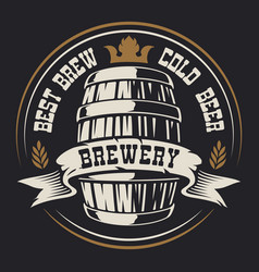 badge with a barrel beer vector image