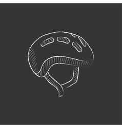 Bicycle helmet drawn in chalk icon vector