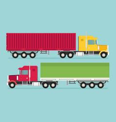 big semi truck set flat trendy vector image