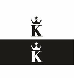 black and white k initial letter with crown vector image