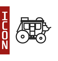 Black line western stagecoach icon isolated on vector