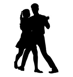 black silhouettes dancing man and woman on white vector image