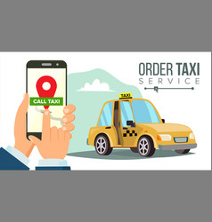 Booking taxi via mobile app hand holding vector