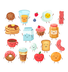 Breakfast food characters funny cartoon lunch vector