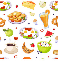 breakfast food seamless pattern design element vector image