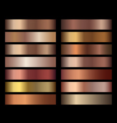 Bronze foil texture gradients templates set vector